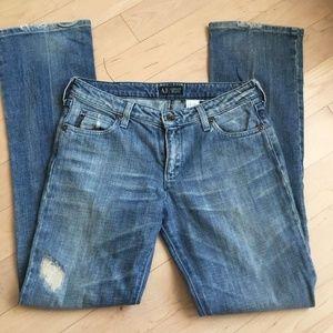 Armani Jeans sz 26 jeans indigo distressed 005